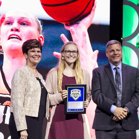 Alivia Lepley receives the Hometown Flash award at the 2019 Best of Stark Preps