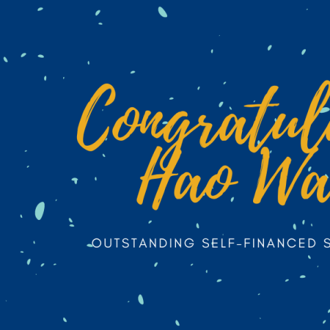 Congratulations banner featuring a headshot of Hao Wang