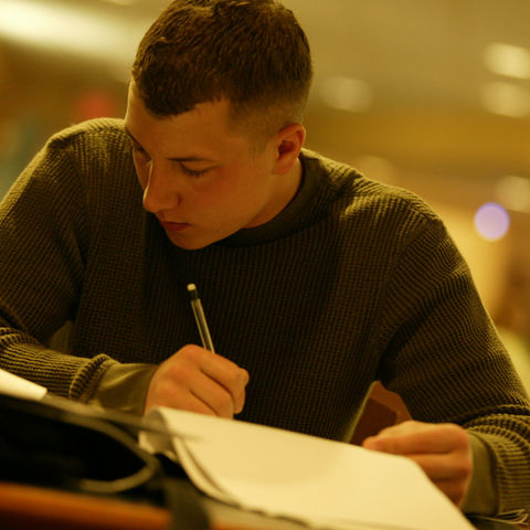 A student studying for class.