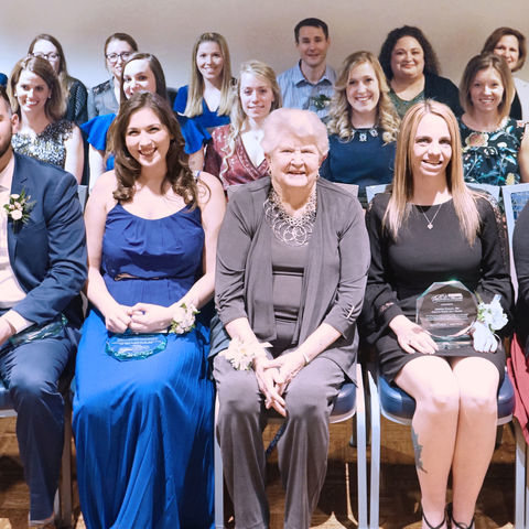 Group photo of the 2019 recipients of the Barbara Donaho Distinguished Leadership in Learning Award.