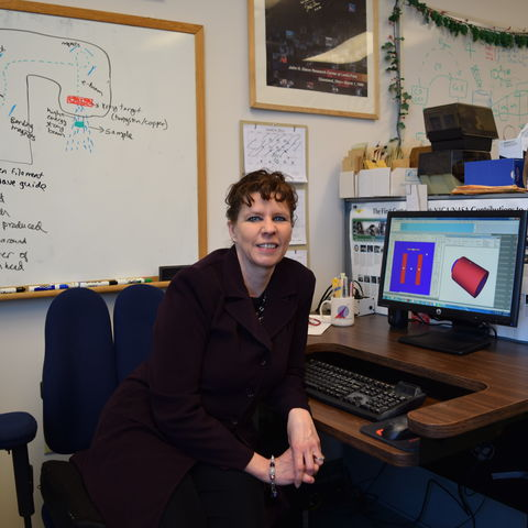 Theresa Benyo at her office at NASA Glenn Research Center