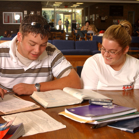 Students study together in the commons of the Kent State Geauga campus.