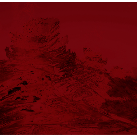 Artist Dakota Mace and a print of a mountain shape that is red and black