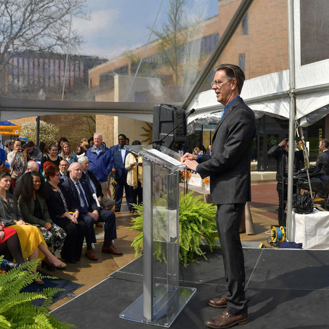 J.R. Campbell, executive director of the Design Innovation Initiative at Kent State, speaks during the construction launch event for the Design Innovation Hub.
