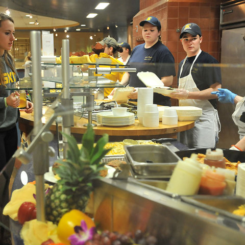 A Kent State student waits for her food at Eastway Center.