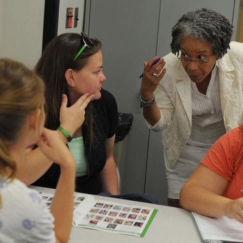 Joanne Dowdy, professor in Kent State's College of Education, Health and Human Services, leads a class in teaching, learning and curriculum studies in White Hall.