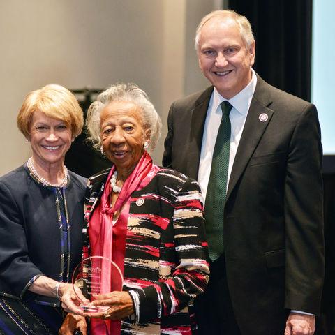 President Warren, Dr. Mildred Dixon, and Dr. Allan Boike, dean of the Kent State University College of Podiatric Medicine