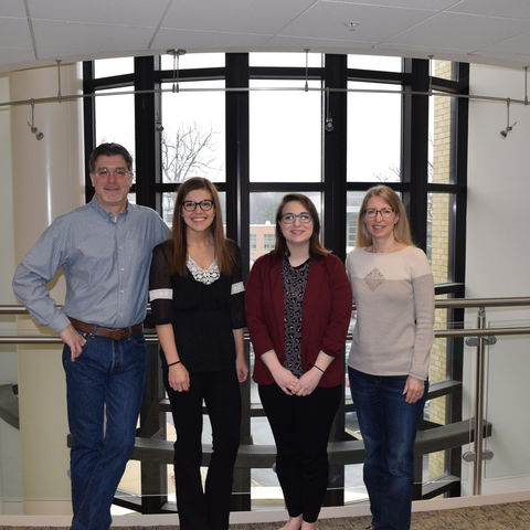 Pictured from left to right are Dr. John Dunlosky, Jessica Janes, Nola Daley, and Dr. Katherine Rawson
