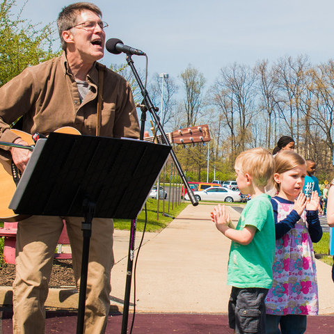 Singer Foster Brown performs at Kent State Stark's annual Earth Day Celebration.