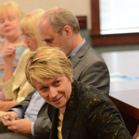 Kent State President Beverly Warren listens to a speaker during a listening tour event at the East Liverpool Campus.