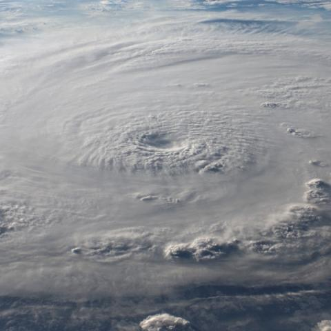 Looking at the clouds of a hurricane from above