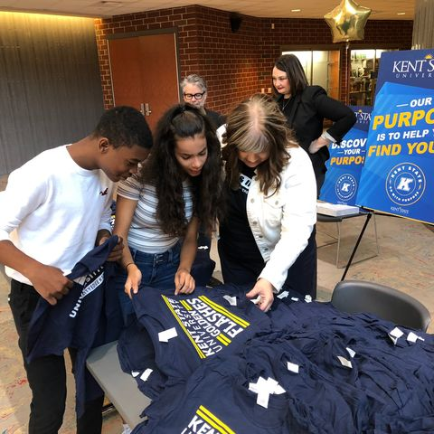 Kent State leaders meet with students at Akron's Firestone High School for their first day in the College and Career Academies Program.