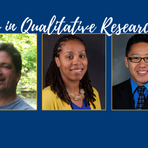 Banner image for the first panel discussion in the qualitative research methods series. From left to right: Dr. Jo Dowell, Dr. Landon Hancock, Dr. Christa Porter, Dr. Christopher Dum, Dr. Ashley Nickels