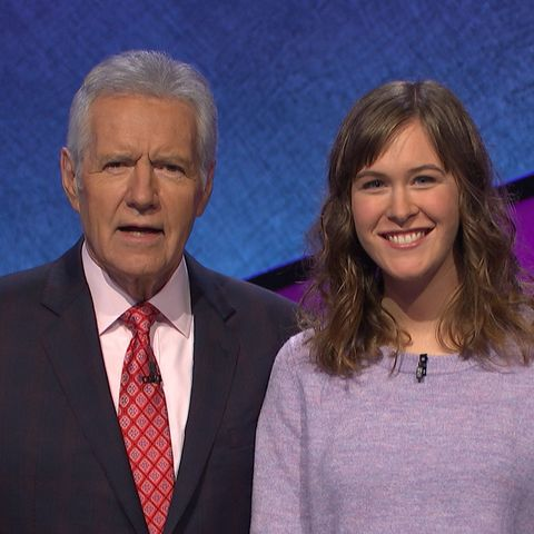 """""""Jeopardy!"""" host Alex Trebek poses for a photo with Kent State University alumna Carrie Blazina."""