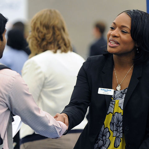 Kent State University students interact with potential employers and practice skills they acquired through Career Exploration and Development in Kent State's University College.