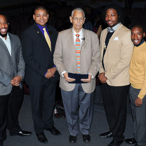 Members of Kent State's Undergraduate Student Government gather for a photo with civil rights leader Julian Bond (center) prior to a dialogue in Ritchie Hall's African Community Theatre.