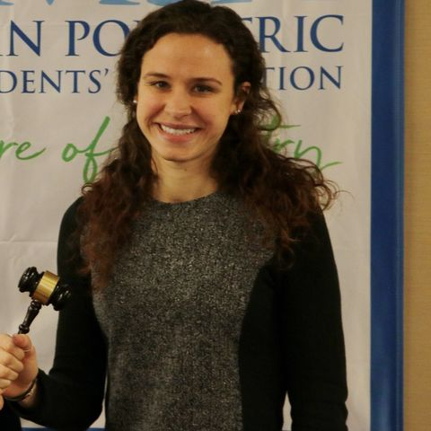 Kent State University College of Podiatric Medicine student Kristen Brett, right, is elected president of APMSA.