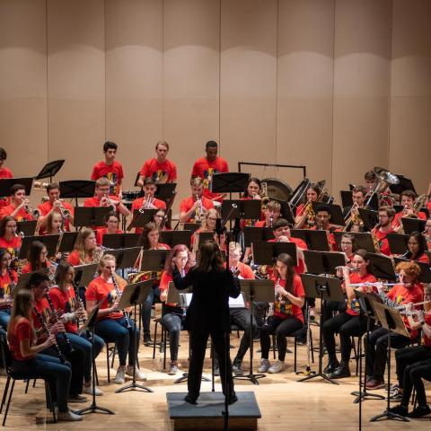 Photo of Wendy K. Matthews leading Kent State's All-Star Band