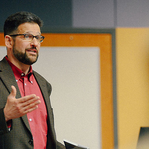 David Hassler, director of the Wick Poetry Center at Kent State University, guides a poetry workshop. Hassler and other Wick Poetry Center staff will lead March for Science participants in a poetry-writing exercise.