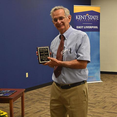Ray Trevelline, former owner of the Hot Dog Shoppe in downtown East Liverpool, received the Community Partner Award.