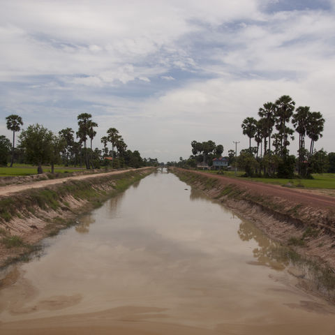 An irrigation canal runs through a Cambodian rice field