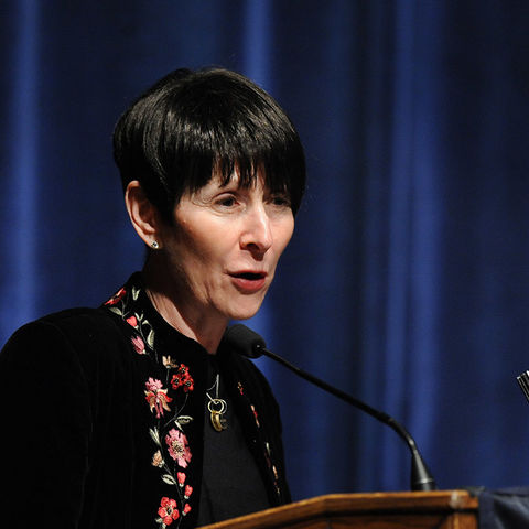 Cynthia Roller speaks during the Kent State College of Nursing's Spring 2014 Graduate Convocation Ceremony held in the Kent Student Center Ballroom.