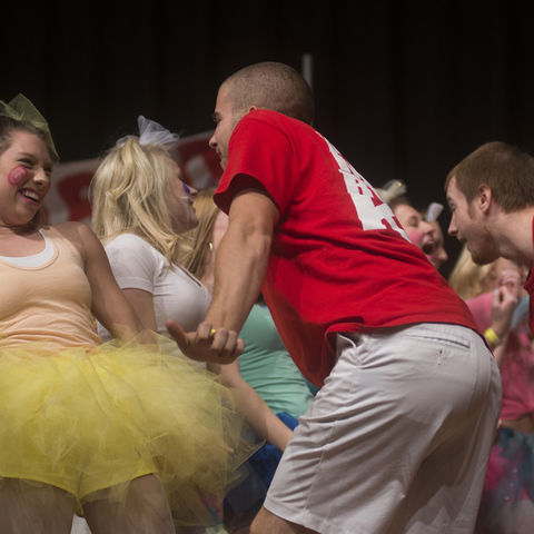 """Delta Zeta, Kappa Sigma and Phi Kappa Tau perform their skit """"Candyland"""" at the annual Greek Songfest event. Songfest brings the entire Greek community together for a good cause through singing, dancing and acting."""