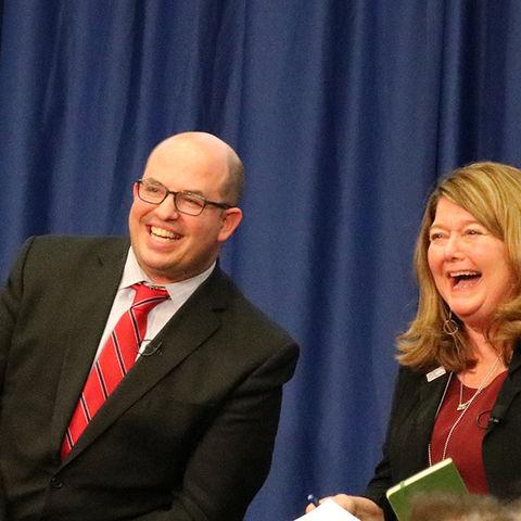 Brian Stelter and Connie Schultz Laugh