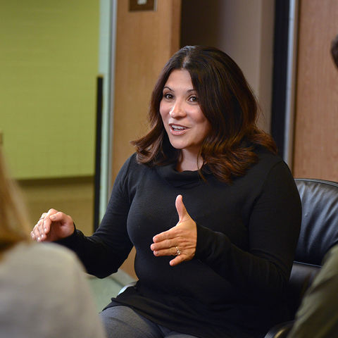 Cassandra Storlie, an assistant professor in Kent State's School of Lifespan Development and Educational Services, gives advice to Ph.D. students on finding their first jobs.