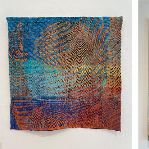A weaving by Meagan Smith, a colorful nature painting by Kasey Kania, and a sculpture of a breakfast table setting by Maureen Chisholm