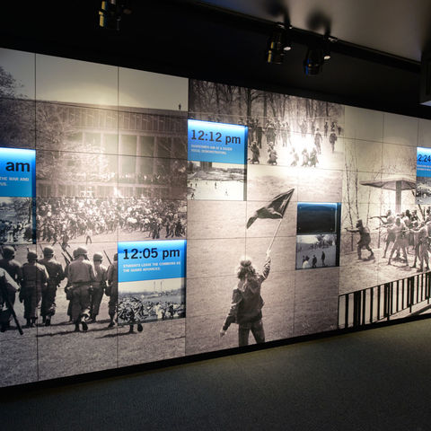 <The Kent State University May 4 Visitors Center features images