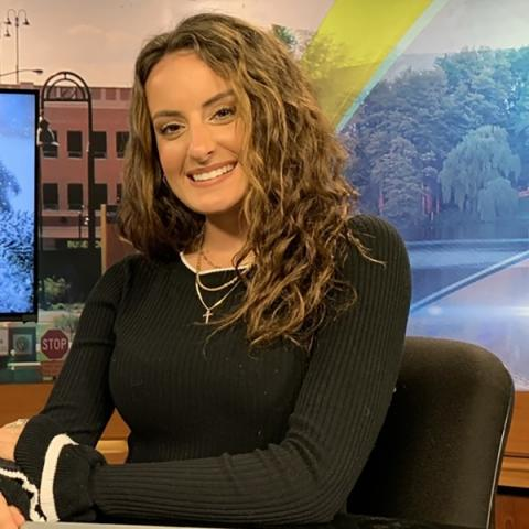 Kent State senior Gianna DaPra in the TV2 Studio