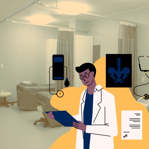 Image of an exam room with a graphic of a doctor in the lower right hand corner.
