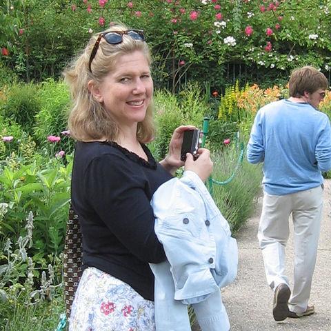 Carol P. Kropp in garden in Paris