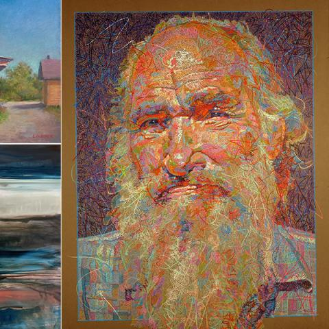 Graphic for the Re-Emergence art exhibition - three paintings on the right - one of a mill, one of a foggy body of water with a boat and one portrait of a man with a long white beard.