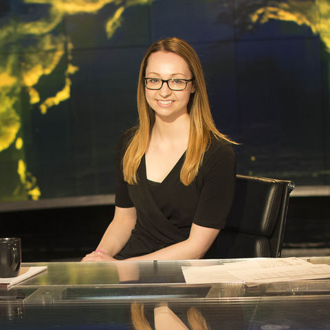 Vivian Feke, a recent graduate of Kent State, is the winner of the 2016 Student Edward R. Murrow Overall Excellence Award for video. The award recognizes outstanding work by student journalists. (Photo credit: Gary Hanson)