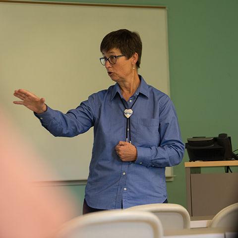Ashtabula lecturer Joan Steidl instructing a class