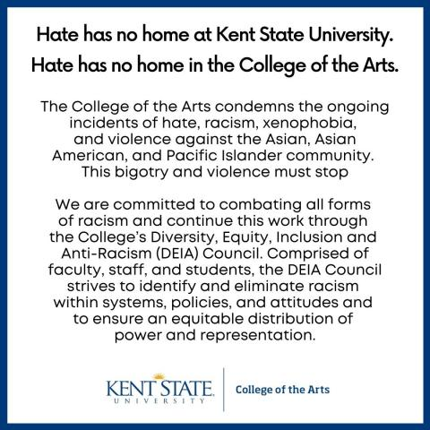 Hate has no home in the College of the Arts