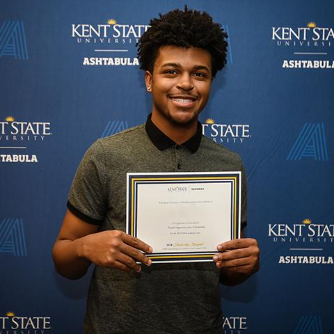 Ashtabula student Aaron Thompson at the 2019 Scholarship Banquet