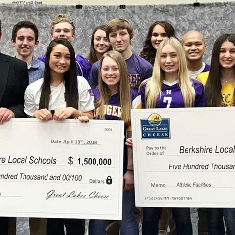 Student-athletes from Berkshire High School pose with John Epprecht (left) and Kurt Epprecht (right) after the announcement of a $2 million gift to the school. (Photo courtesy of John Stoddard)