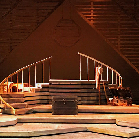 Kent State University graduate scenic design student Patrick Ulrich designed the entire set for Kent State's Little Women the Musical. The set was built on a turntable.