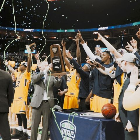 The Kent State University men's basketball team celebrates winning the 2017 Mid-American Conference Tournament Championship at Quicken Loans Arena in Cleveland.