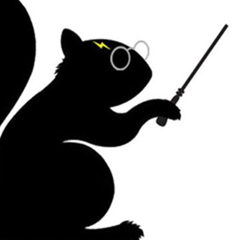 A black squirrel dressed up as Harry Potter