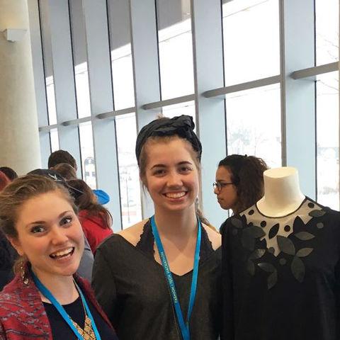 Students surround their mannequin at Fashion/Tech Hackathon