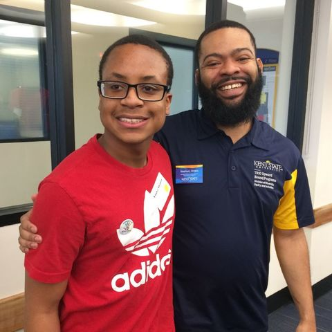 Upward Bound student with Stephon Brown