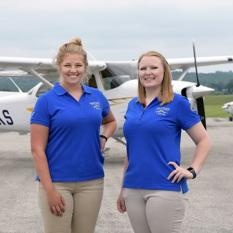 photo aeronautics students Helen Miller and Kenzie Alge in 2018 Air Race Classic
