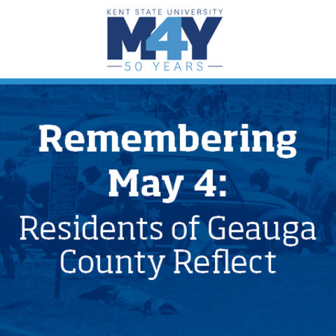 May 4 logo and historic photo of students lying on ground at May 4