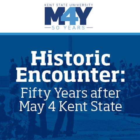 May 4 logo and historic photo of students lying on ground at May 4