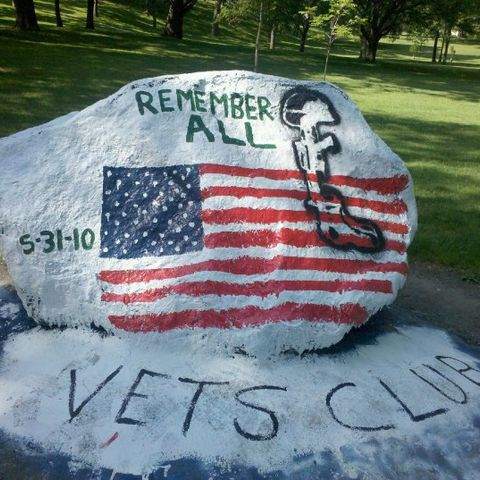 The rock at front campus painted for the Kent State Veterans Club