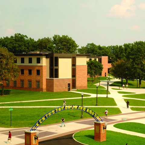 An aerial view of Stopher Hall on the Quad at Kent State University